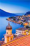 Limone sul Garda at dusk, Garda Lake, Brescia province, Lombardy, Italy