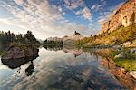 Dawn at Federa Lake, Croda da Lago, Dolomites, Cortina d'Ampezzo, Veneto, Italy