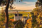 Neuschwanstein Castle in Autumn at sunset Europe, Germany, Bavaria, southwest Bavaria, Fussen, Schwangau