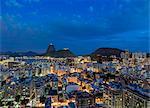 View over Botafogo towards the Sugarloaf Mountain at twilight, Rio de Janeiro, Brazil, South America