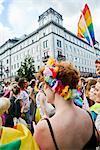 Redhead woman at gay pride parade