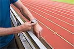 Athlete preparing for training