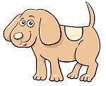 Cartoon Illustration of Cute Little Puppy Animal Character