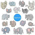 Cartoon Illustration of Elephants Animal Characters Big Collection