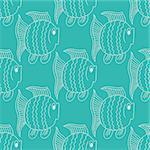 Blue funny fish seamless pattern. Vector illustration