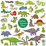 Cartoon Illustration of Reptiles and Amphibians Animal Characters Big Set