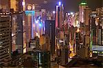 Hong Kong Island skyscrapers illuminated at night, Hong Kong, China, Asia