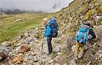 Mother and son, trekking through landscape, Ventilla, La Paz, Bolivia, South America