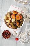 Pickled mushrooms and gherkins