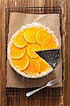 Yogurt geletine cake with oranges