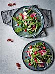 Rocket salad with radish and raspberry dressing
