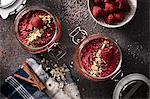 Chia puddings with raspberries and cinnamon
