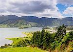 Lagoa das Sete Cidades, elevated view, Sao Miguel Island, Azores, Portugal, Atlantic, Europe