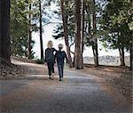 Boys walking on road through woods, Lake Arrowhead, California, USA