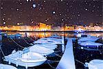 Sarnico Under the snowfall, Bergamo province, Lombardy district, Italy.