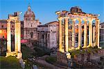 Campidoglio, Rome, Lazio. The Roman Forum by night