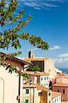 Old town and bell tower, Poggio, Marciana, Elba Island, Livorno Province, Tuscany, Italy