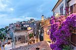Old town at dusk, Capoliveri, Elba Island, Livorno Province, Tuscany, Italy