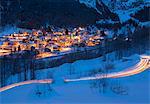Alpine village of Fraciscio at dusk, Campodolcino, Chiavenna Valley, province of Sondrio, Valtellina, Lombardy, Italy