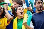 Brazilian football fans celebrating victory at football match