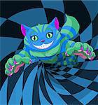 Cheshire cat jumping to the wonderland rabbit hole
