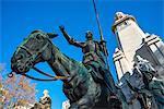 Don Quixote statue at Plaza de Espana, Madrid, Spain, Europe