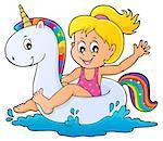 Girl floating on inflatable unicorn 1 - eps10 vector illustration.