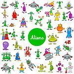 Cartoon Illustration of Aliens Fantasy Characters Huge Set