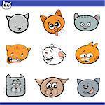 Cartoon Illustration of Cute Cats or Kittens Heads Set
