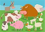 Cartoon Illustration of Farm Animal Livestock Characters Group