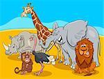 Cartoon Illustration of Wild Safari Animal Characters Group