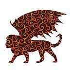 Manticore pattern silhouette mythology symbol fantasy. Vector illustration.