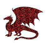Dragon fantastic pattern silhouette symbol mythology fantasy.  Vector illustration.