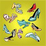 Fashionable womens shoes. Comic cartoon pop art retro vector illustration drawing