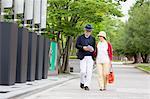Senior couple walking around