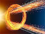 Radiated Fire and Light Beam Going Breakthrough Spinning Fire Ring