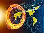Light Beam and World Map Going Breakthrough Spinning Fire Ring