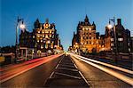 Traffic on the North Bridge, Edinburgh, Scotland, United Kingdom, Europe
