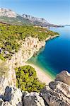 Elevated view over Nugal Beach near Makarska, Croatia, Europe