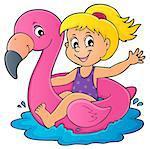Girl floating on inflatable flamingo 1 - eps10 vector illustration.