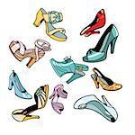 women shoes on white background. Comic cartoon pop art retro vector illustration drawing