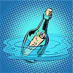 SOS bottle with note, sea. Comic cartoon pop art retro vector illustration kitsch vintage drawing