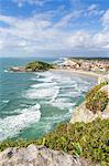 Elevated view over Saudade Beach, Sao Francisco do Sul, Santa Catarina, Brazil, South America