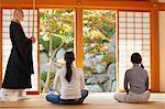 Japanese priest preaching zen meditation