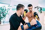 Man kickboxing training