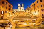 Fontana della Barcaccia in front of the Spanish Steps at Piazza di Spagna at dawn, Rome, Lazio, Italy, Europe