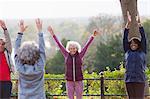 Confident, energetic active seniors practicing yoga in park