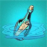Help bottle with note, sea. Comic cartoon pop art retro vector illustration kitsch vintage drawing