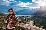 Woman at viewpoint, Garda Lake, Trentino-Alto Adige, Italy
