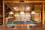 Dining table inside luxurious cedar wood home